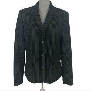 MERONA - Black Pinstripe Three Button Blazer Large